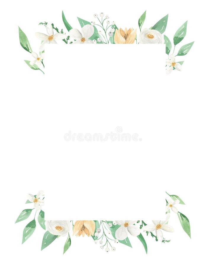 White Floral Rectangle Frame Green Leaves Floral Leaf Yellow Border stock illustration