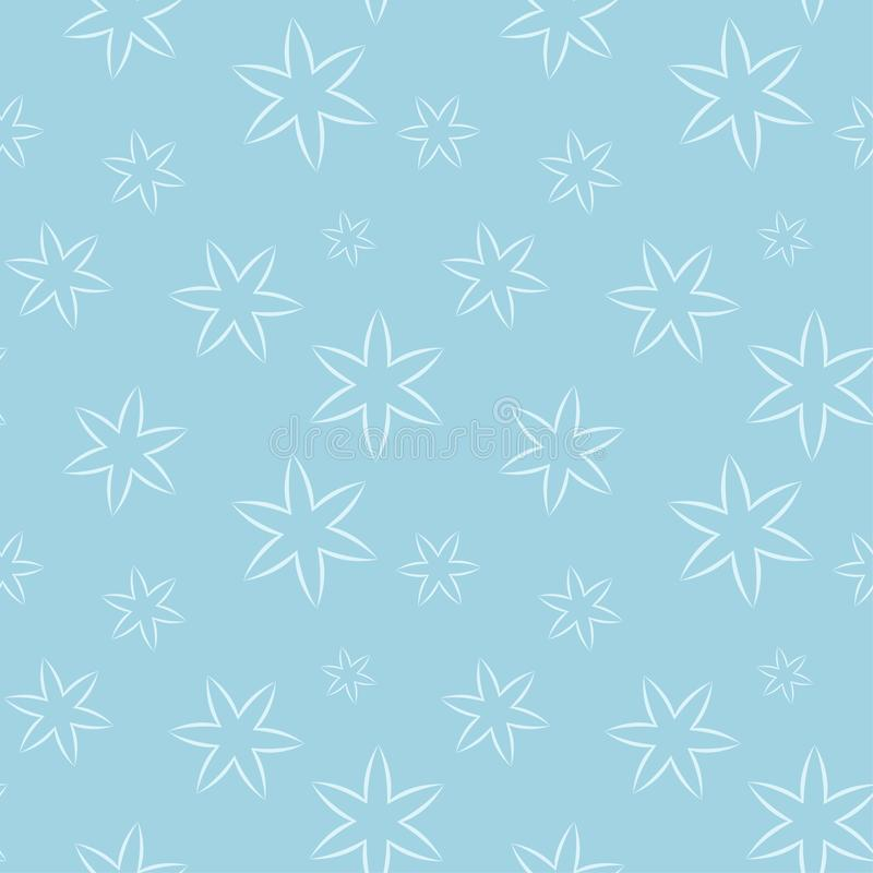 White floral seamless pattern on blue background vector illustration