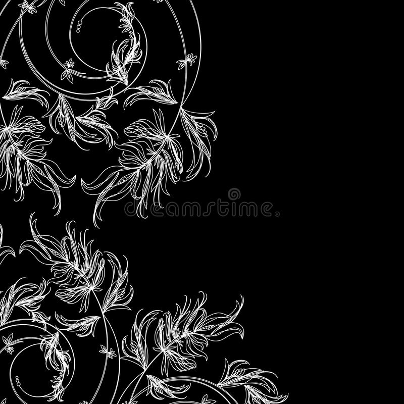 White floral sketch on a black background vector illustration