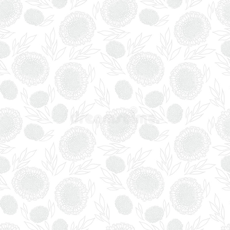 White floral texture with small ditsy flowers. White floral texture in vintage style for Christmas and holiday decor or wedding invitation background. Seamless stock illustration