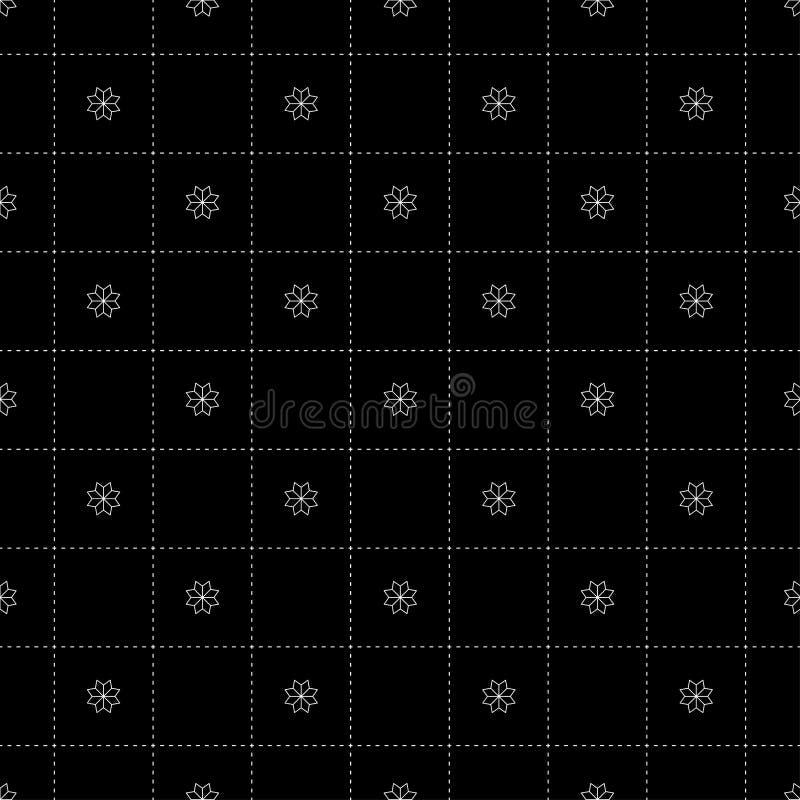 White Flower in Dash Chess Board Japanese Seamless on Black Background. Vector Illustration. White Flower in Dash Chess Board Japanese Seamless on Black stock illustration