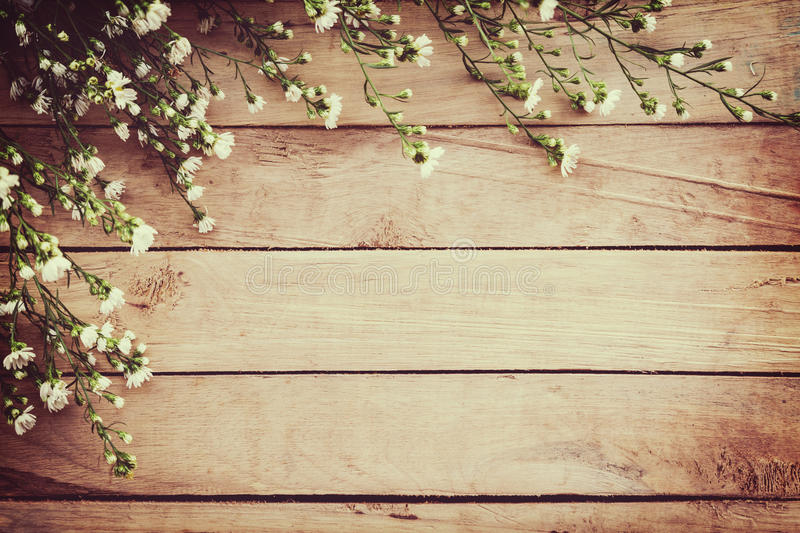 White flower on grunge wood board background with space. stock photography