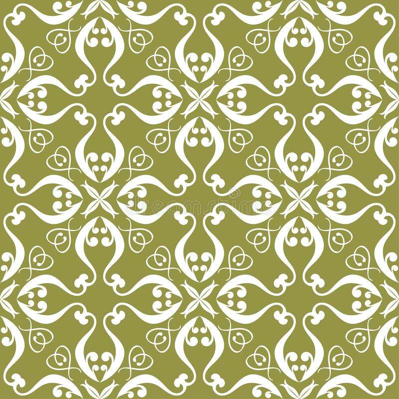 White flower on olive green background. Seamless pattern vector illustration