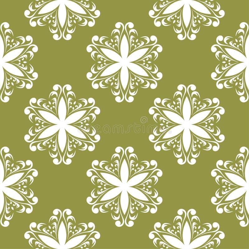 White flower on olive green background. Seamless pattern stock illustration
