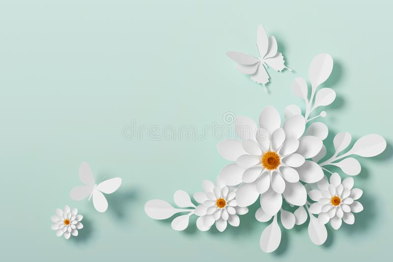 White Flower paper style, paper craft floral, Butterfly paper fly, 3d rendering, with clipping path. royalty free illustration