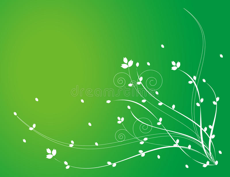 White flower pattern in green background royalty free illustration