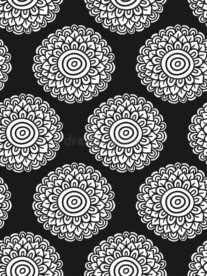 White flower seamless pattern. Boho hand drawn background. Vector illustration vector illustration