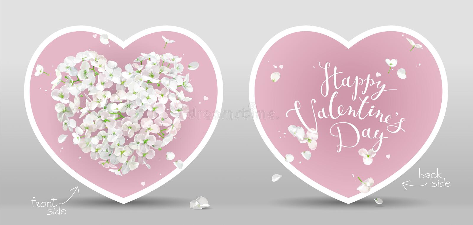 White Flower vector Heart cards for Valentine`s Day on pink background royalty free illustration
