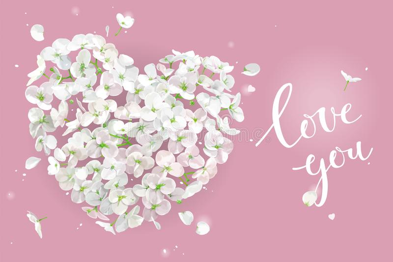 White Flower vector Heart for Valentine`s Day on pink background royalty free illustration