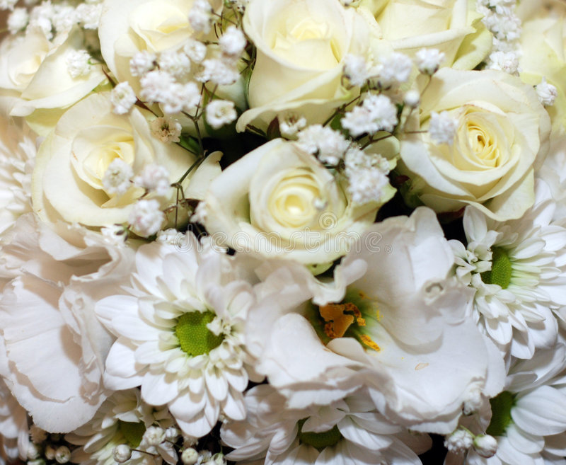 White flowers. Picture of bouquet with many beauiful white flowers stock photo