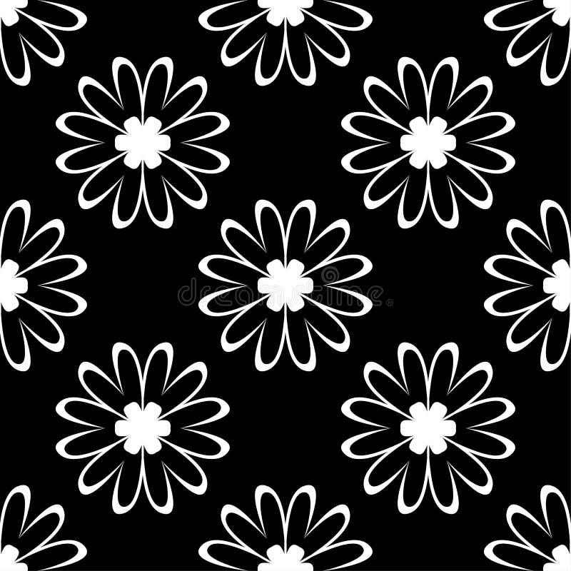 White flowers on black background. Ornamental seamless pattern stock illustration