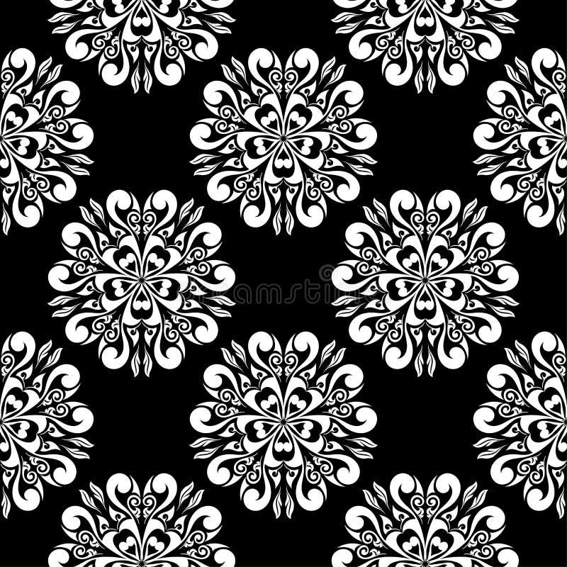 White flowers on black background. Ornamental seamless pattern vector illustration