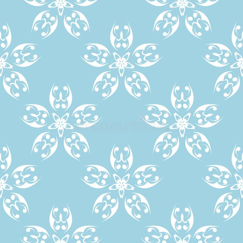 White flowers on blue background. Ornamental seamless pattern stock illustration