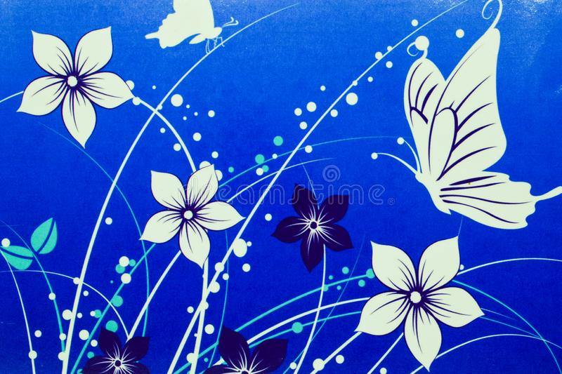 White flowers and butterflies drawn on blue background vector illustration