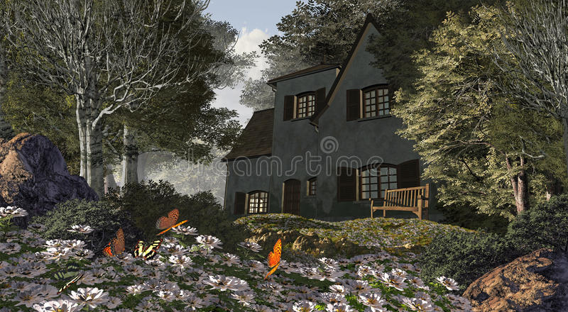 White Flowers And Cottage. A countryside cottage with old bench in front lawn, butterflies, and white flowers royalty free illustration