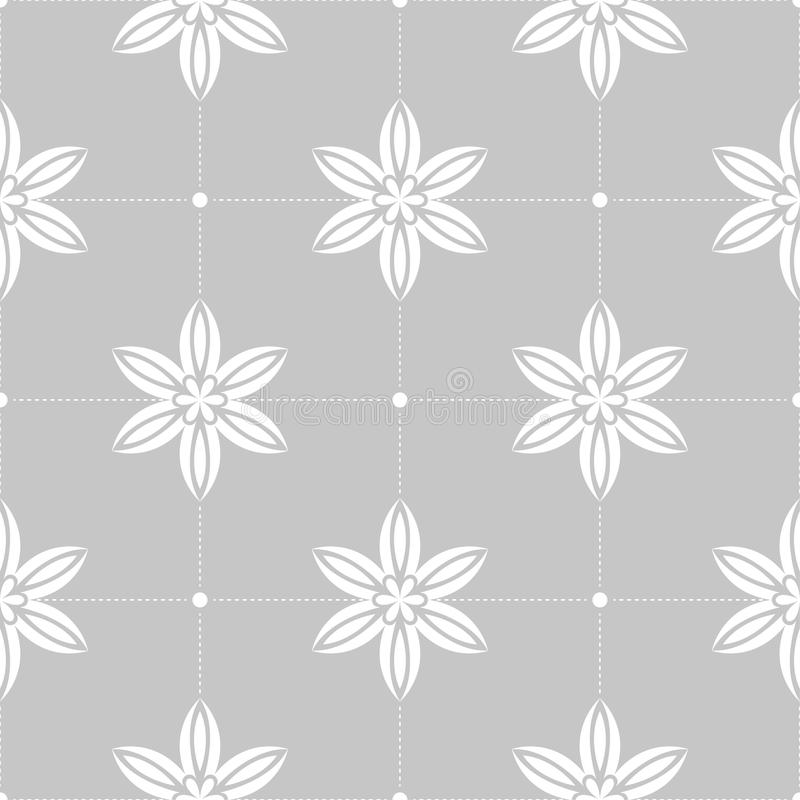 White flowers on gray background. Ornamental seamless pattern stock illustration