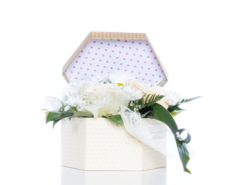 White Flowers Inside Gift Box royalty free stock image