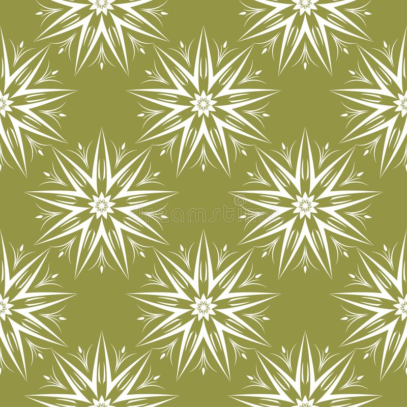 White flowers on olive green background. Ornamental seamless pattern royalty free illustration