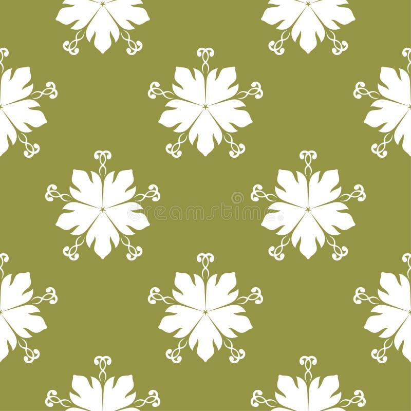 White flowers on olive green background. Ornamental seamless pattern stock illustration