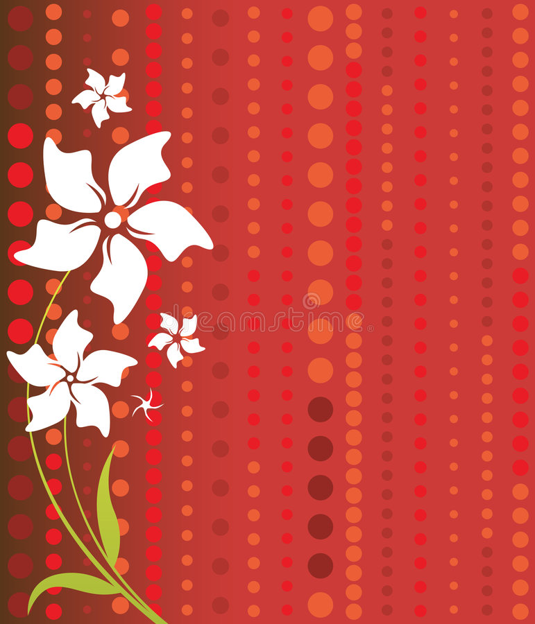 Download White Flowers on Red stock illustration. Illustration of floral - 5045088