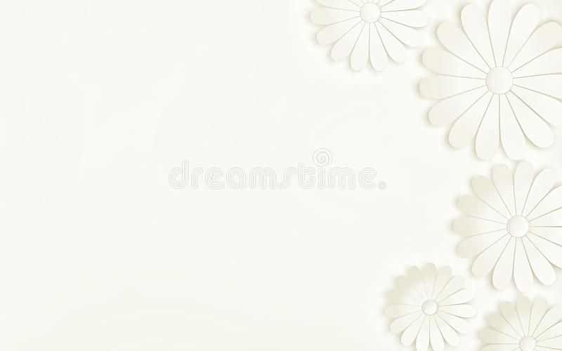 White flowers on white background - floral design elements. 3d render royalty free illustration