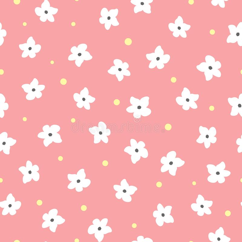 White flowers and yellow dots on pink background. Floral seamless pattern. vector illustration