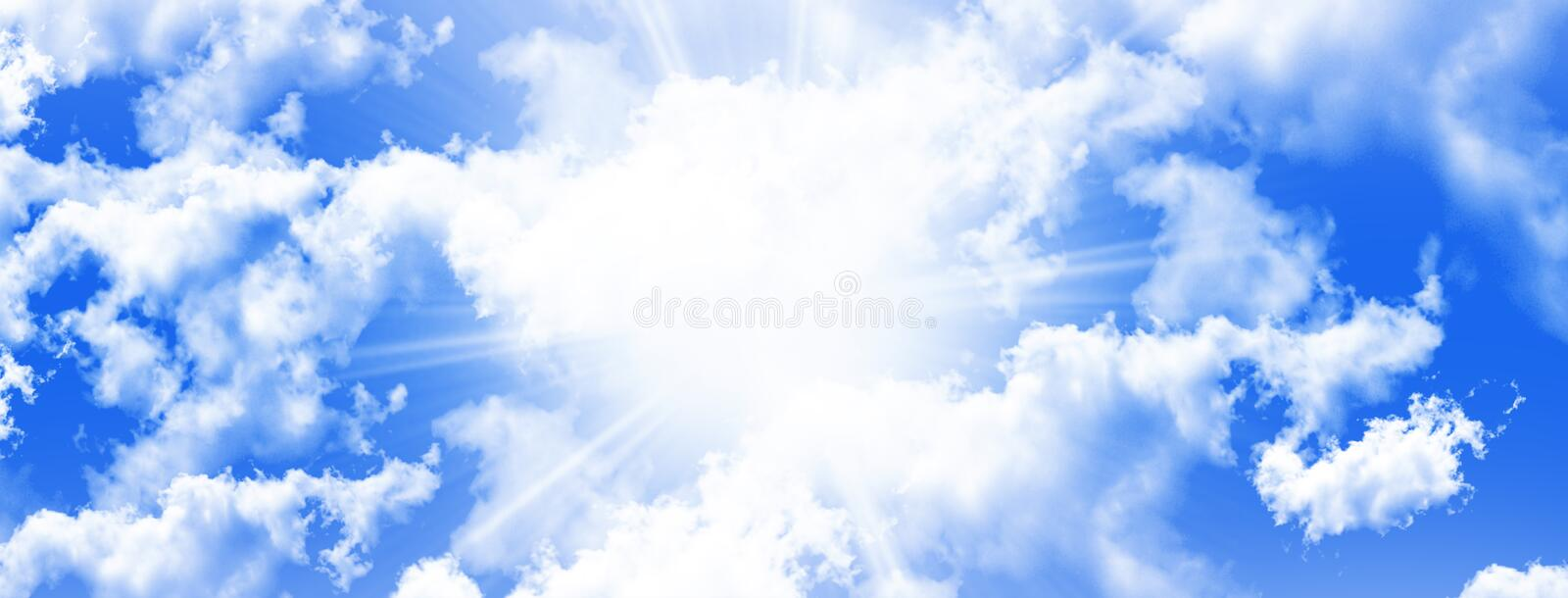 White Fluffy Clouds in the blue sky illustration stock photos
