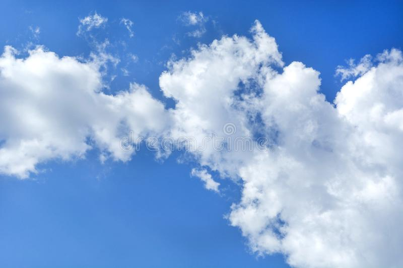 Beautiful white clouds and blue sky, natural background stock photos