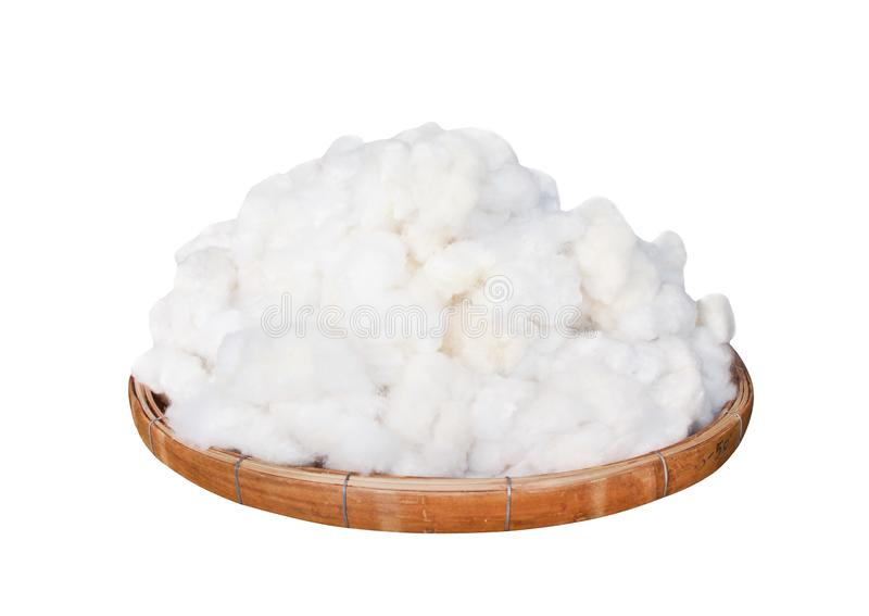 White fluffy cotton group nature patterns on wood round tray isolated on white background with clipping path , prepared for make royalty free stock image