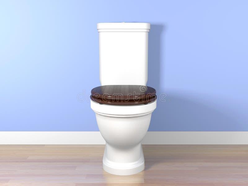 White flush toilet in a bathroom. 3d rendering white flush toilet in a bathroom royalty free stock image