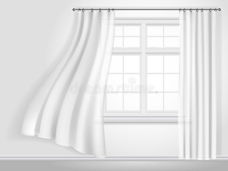 White fluttering curtains and window. On white wall background. Fragment of the interior. Vector illustration royalty free illustration