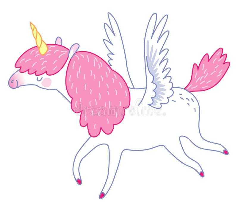 White flying unicorn royalty free illustration