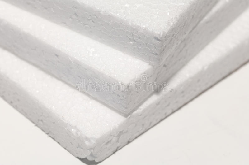 White foam board. Close up, packaging material stock photography