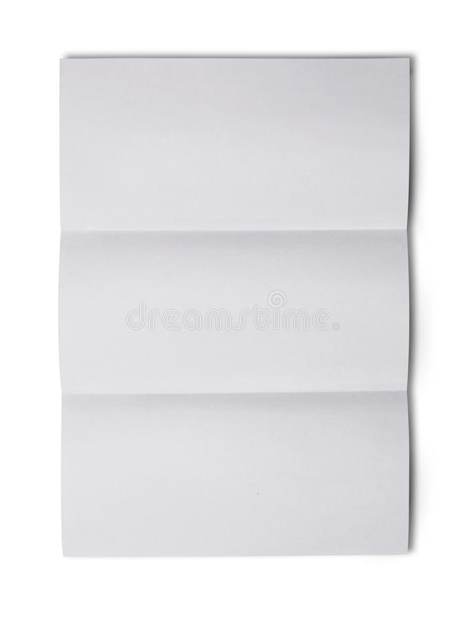White folded blank sheet of paper for correspondence royalty free stock photo