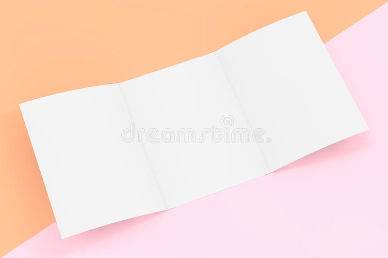 White Folded Mockup Brochure Paper with Free Space for Yours Design. 3d Rendering stock illustration