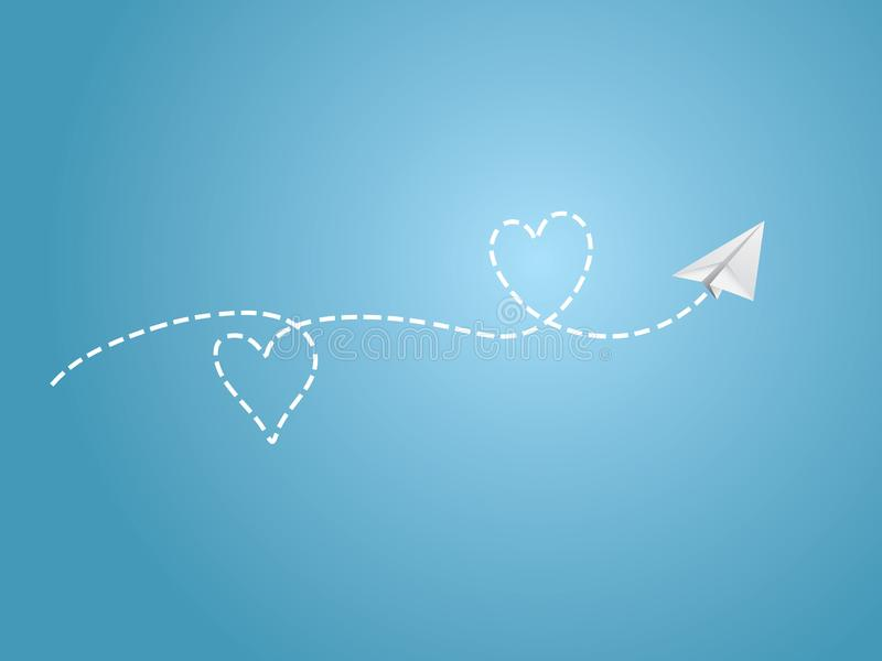 A white folded paper plane making love sign route on blue background to show happy travel emotion. Vector illustration royalty free illustration
