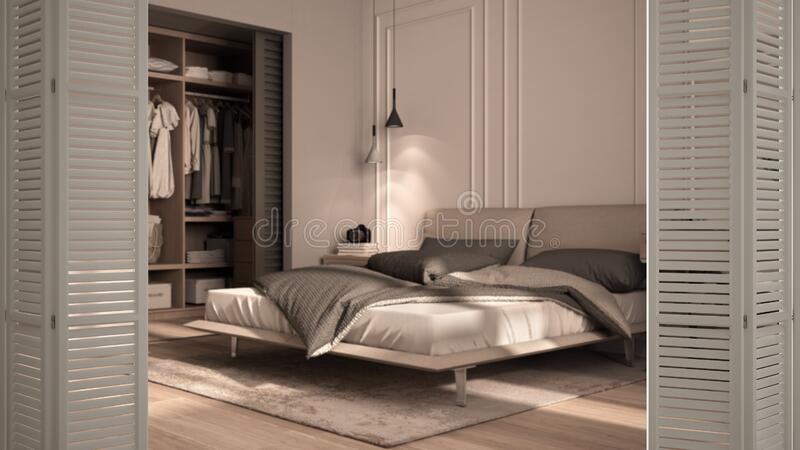White Folding Door Opening On Classic Bedroom In Beige Tones With Walk In Closet Double Bed With Duvet And Pillows Interior Stock Illustration Illustration Of Concept Sample 177942614
