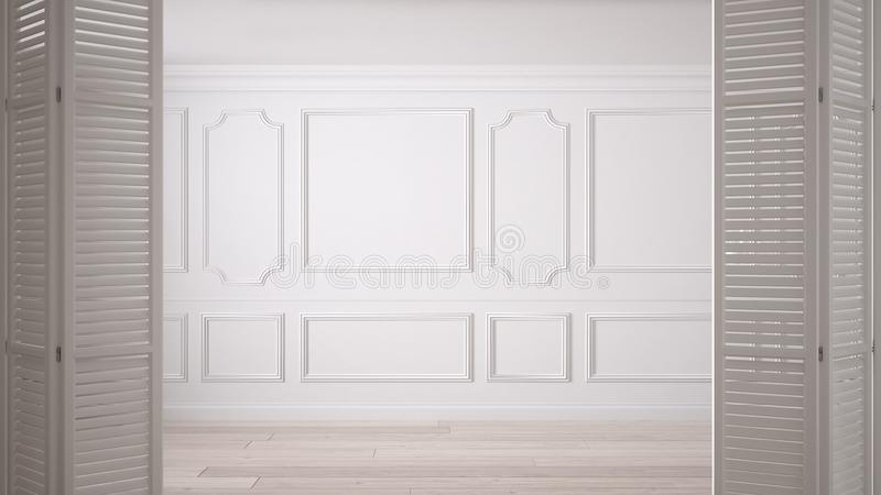 White folding door opening on classic empty space with stucco mouldings and parquet floor, vintage interior design vector illustration