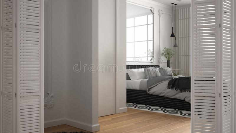 White folding door opening on modern luxury classic bedroom with double bed, carpet and big panoramic window, interior design, royalty free illustration
