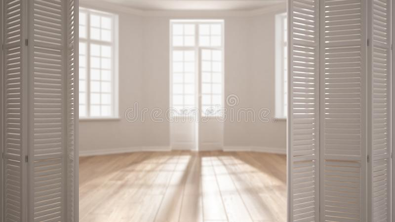 White folding door opening on modern scandinavian empty space with panoramic windows, white interior design, architect designer co royalty free stock photos