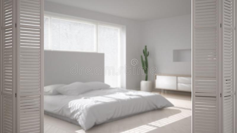 White folding door opening on modern scandinavian minimalist bedroom, white interior design, architect designer concept, blur back. Ground vector illustration