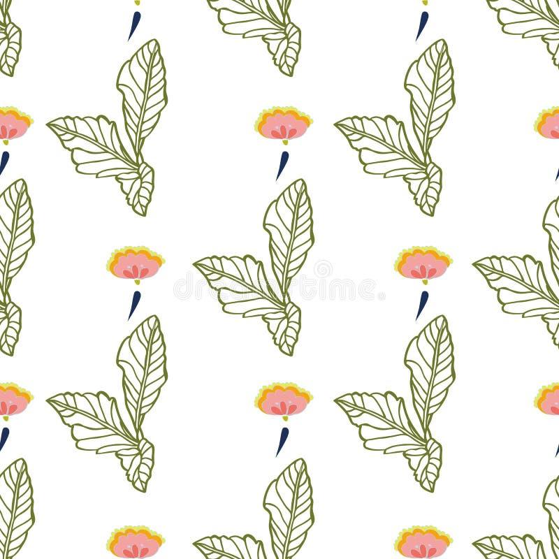 White folk art floral pattern. stock illustration