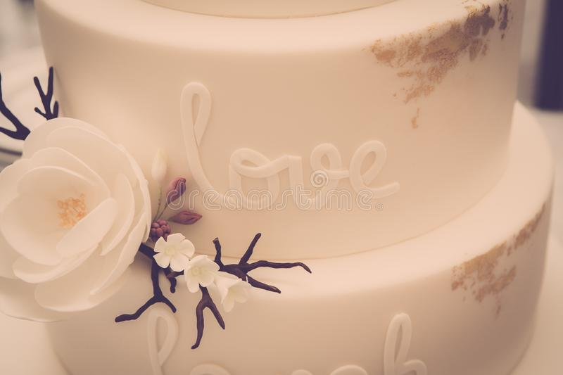 White fondant cake stock images