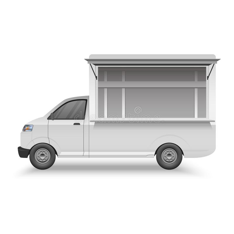 White food truck mock up template, fast food van, vector illustration vector illustration