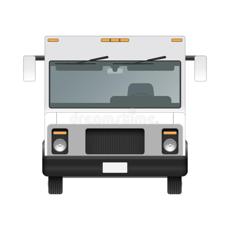 White food truck vector mock up template. Front view stock illustration
