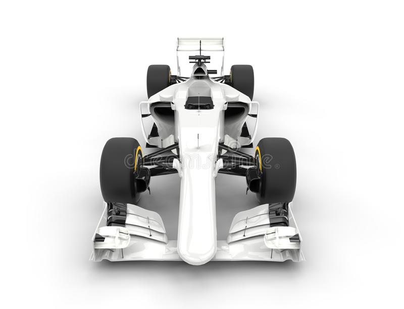 White formula one car - front view. Isolated on white background royalty free stock image