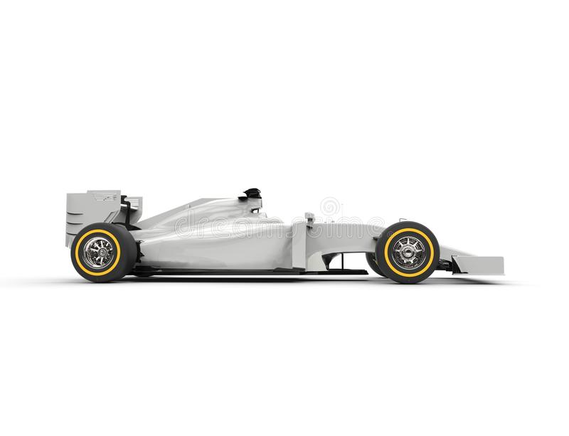 White formula one car - left side view. Isolated on white background royalty free stock photos