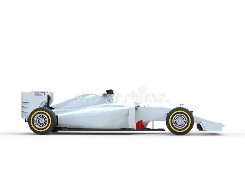 White Formula One Car - Side View. Isolated on white background stock photos