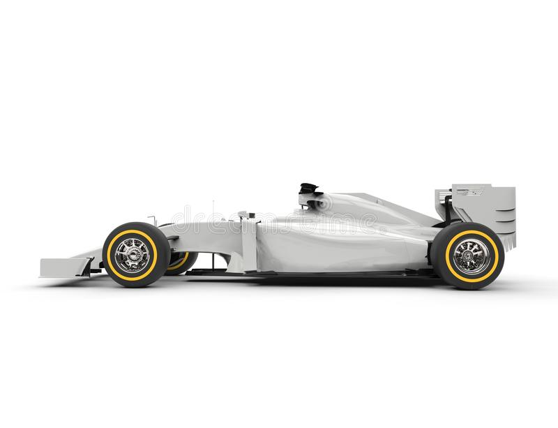 White formula one car - side view. Isolated on white background royalty free stock images