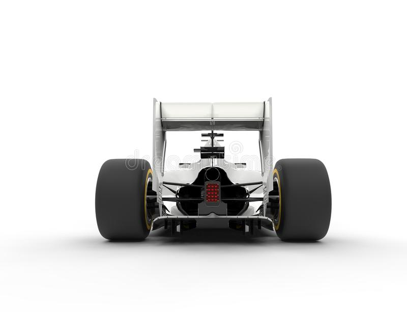 White formula one car - tail view. Isolated on white background royalty free stock images